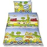 Aminata Kids - süße Kinderbettwäsche Bettwäsche Kinder BIBER 100x135 cm Jungen Baustelle Bagger Betonmischer Kran Baumwolle Babybettwäsche Baufahrzeuge Fahrzeuge Bauarbeiter - Kinderbett-Größe