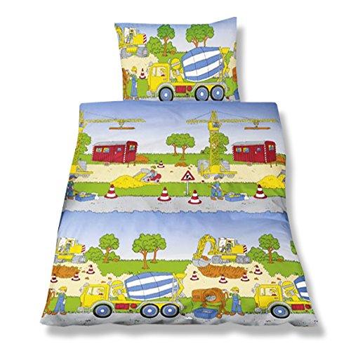 Aminata Kids - Kinderbettwäsche 100x135 Biber Baumwolle Betonmischer Bagger Baustelle Jungen Bettwäsche