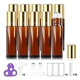 Botellas Roll On para Aceites Esenciales, 10ML, Vacías - Bolita de Acero Inoxidable, Empaque para Regalo para Cada Botella, Incluyen Abridor de Botellas y Etiquetas de Handy Picks (Pack de 10, Ambar)