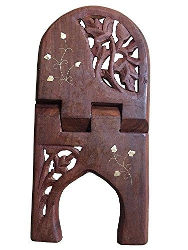 Madera plegable del sostenedor del soporte libro religioso con incrustaciones de Diseño, Handcrafted atril, regalo para la Navidad o de cumpleaños de sus seres queridos