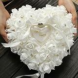 ZJchao - Cuscino per fedi nuziali, 15 x 13 cm, a forma di cuore, con scatola regalo per anelli di nozze, con rosa romantico
