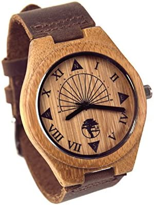 Viable Harvest Reloj de Madera de Los Hombres, Diseño único del Reloj de Sol, Bambú Natural, Cuero Genuino y Caja de Regalo