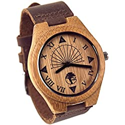 Viable Harvest Men 's Wood Watch, Unique Sundial Design, natural Bamboo, Genu...
