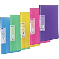 Display Book Vivid, 30 pockets, A4 size , Pack of 5 assorted coloured folders (Colour mix may vary from image shown)