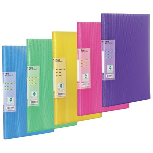 pentel-30-pocket-display-book-vivid-a4-pack-of-5-folders-assorted-colours