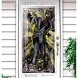 NET TOYS Halloween Türdeko Zombie Attacke Türfolie Deko Tür Türdekoration Horror Angriff der Untoten Tür Dekofolie Außendeko Folien Dekoration Zombies Folienbild