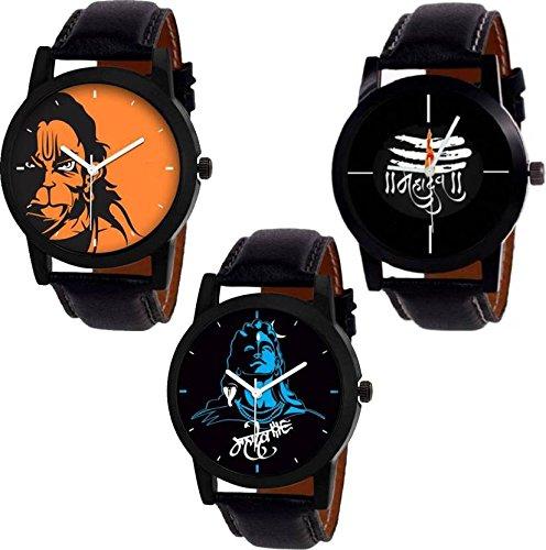 Swadesi Stuff Stylish Black Leather Strap Designer Watch of Lord Shiva Hanuman Combo of 3 Watches for Men & Boys