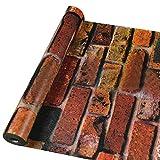 WTD - Papel pintado para pared, autoadhesivo, diseño de ladrillos y piedras, rojo