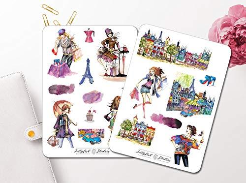 Paris Shopping Sticker Set | Aufkleber Mädchen | Journal Sticker | Sticker Mode | Sticker Kleider | Sticker Frauen
