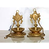 "StonKraft Ideal Gift - Pair Of Brass Hanging Diya, Oil Lamp, Lamp For Home And Office (Hanging Length 25.75"")"