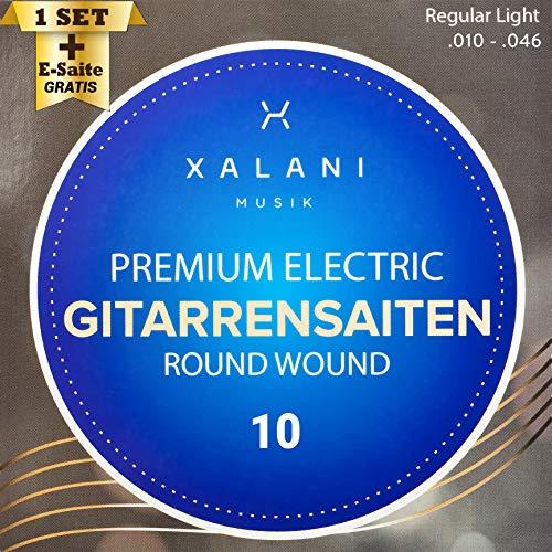 XALANI E-Gitarren-Saiten 010 I ★ Bonus: 1 hohe E-Saite und 3 Plektren gratis ★ I Gitarrensaiten Nickel