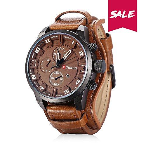 Curren Reloj de Pulsera de Cuero, Cuarzo analógico, diseño clásico