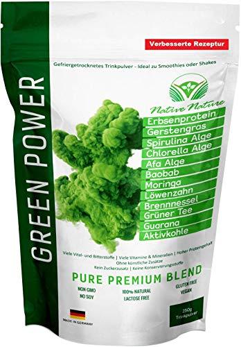 GREEN POWER - Superfood Mix mit Löwenzahn, Brennnessel, CHLORELLA, SPIRULINA, AFA Alge, Moringa, Grüner Tee, uvm. | 200 Gramm | Zur Fastenkur oder als Smoothie - 100% natürlich - Superfood-mix