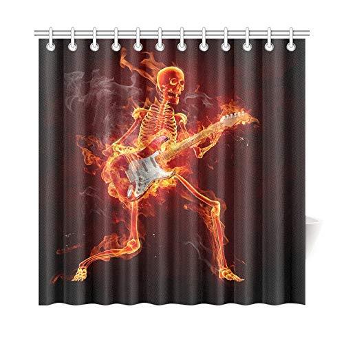 JOCHUAN Wohnkultur Bad Vorhang Gitarrist Serie Fiery s Polyester Stoff wasserdicht Duschvorhang für Badezimmer, 72 x 72 Zoll Duschvorhang Haken enthalten