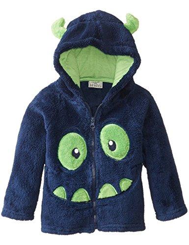 Little Sorrel Bambino Felpe con cappuccio Ricami Fumetto Coral Velluto Zip Sweater, Blu marino, 4-5
