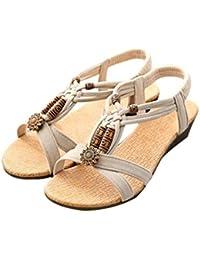 Sandalias de mujer Verano Bohe Rhinestone Bohemia Dulce Con cuentas Casual  Peep-toe Plano Hebilla de zapatos Sandalias romanas… 729652c38bc1