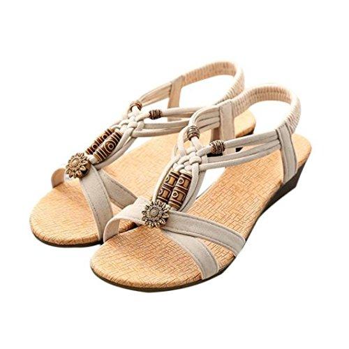 Sandalias de mujer Verano Bohe Rhinestone Bohemia Dulce Con cuentas Casual Peep-toe Plano Hebilla de zapatos Sandalias romanas Sandalias casuales Zapatos de playa LMMVP (38(CN), Beige)