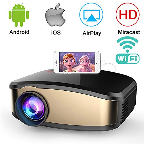 WiFi Beamer, Weton Wireless Mini Beamer 1080P HD LED Video Beamer, +50{fcee5b95addd8549415f0ac3dc58004c1392e4156e671ebc2e4a96fd58420d4a} Helligkeit 50.000 Stunden Leben, Heimkino Projektor Kompatibel mit Fire TV Stick, HDMI,VGA,AV,USB für IOS Android Smartphone