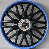 4Enjoliveurs 15Bleu Jeu de 4enjoliveurs Jeu de 4enjoliveurs 15pouces noir bleu ordre Blue 15, guide de montage inclus, produit neuf et OVP Top offre.