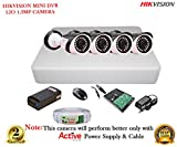Hikvision HD DS-7104HGHI-F1 4CH DVR + LIO AHD ADS1M36 1.3MP CCTV Bullet Camera 4Pcs + 1TB HDD + Active Cable + Active Power Supply Full Combo