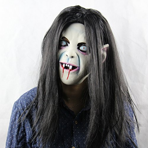 Halloween Horror Maske Sadako Halloween Cosplay Kostüm Maske Halloween Maske Horror Geistermaske --Kostüm Weihnachtsdekoration Cosplay Partei (Kostüme Clown Halloween Happy)