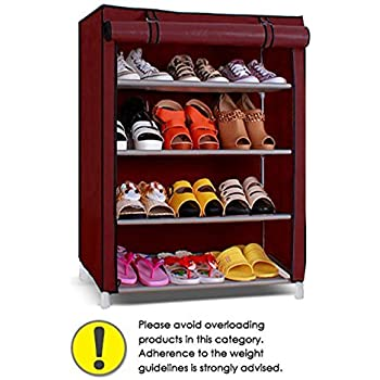 Pindia Shoe cabinet , 4-5 Layer Maroon Shoe Rack Organizer: Amazon ...