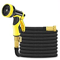 50ft Expandable Garden Hose,Cysmile Triple Layer Latex Core and All Brass Connectors Expanding Water Hose with 9 Pattern High-Pressure Water Spray Nozzle for Plant Watering & Car,Pet Washing Black