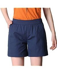 Masterein Femmes solides Couleur Pantalon court taille élastique short en coton lin avec poches