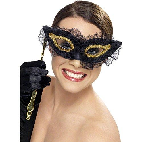 NET TOYS Venezianische Stabmaske Augenmaske Schwarz Ballmaske Venezianische Maske Stab Maskenball ()