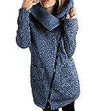 LANOMI Womens Casual Jacket Coat Unique Long Zipper Autumn Winter Sweatshirt Outwear With Pockets 6 8 10 12 14 16 18 20 (Size L/UK 16-18, Blue Coats)