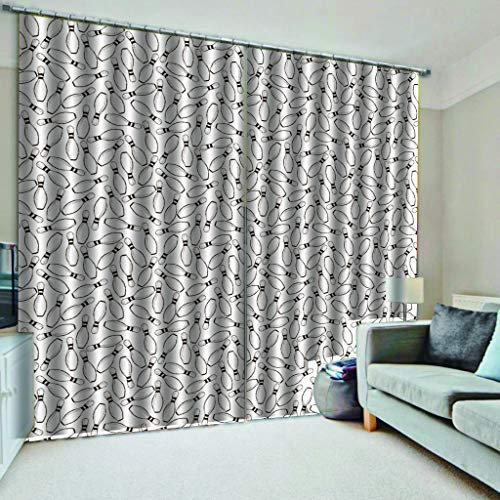 wling Muster Druck Wohnzimmer Energiesparende Geräuschreduzierung Ohne Stange 2xL175xH140cm ()