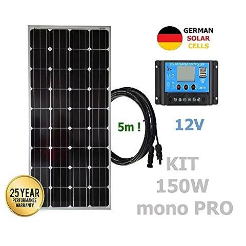 Kit 150W PRO 12V panneau solaire monocristallin cellules allemandes
