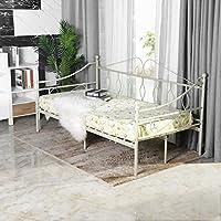 Aingoo Cama de día con somier de láminas para sala de estar balcón balcón banco banco de jardín (Blanco, 90_x_190_cm)