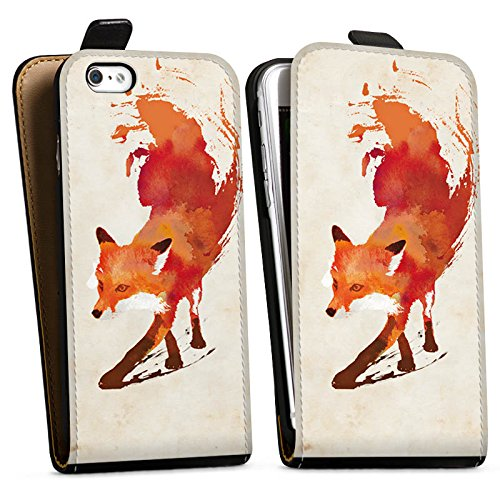 Apple iPhone 6s Tasche Hülle Flip Case Fuchs Vulpes Art Downflip Tasche schwarz