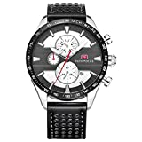 Mini Focus Herren Fashion Analog Quarz echtem Lederband Uhren für MAN CLASSIC Armbanduhr für Herren Jährliche 2018schwarz weiß