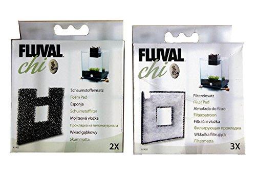 Fluval Chi Lot de 3 tampons filtreurs A1420 et de 2 tampons en Mousse A1422 pour Aquarium de 19 et 25 litres