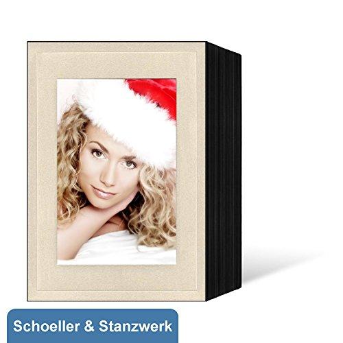 50 Stück Endlosleporellos für 10x15 cm Fotos Hochformat - schwarz - creme satinierte Fotomaske mit Blindprägung - Schoeller & Stanzwerk
