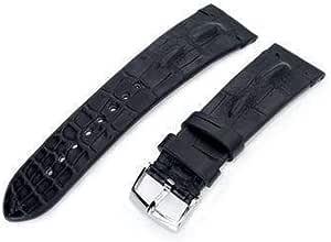 Cinturino per orologio in alligatore Strapcode 20mm o 22mm MiLTAT Cinturino per orologio nero opaco in alligatore corno fatto a mano