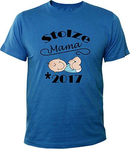 Mister Merchandise Herren Men T-Shirt Stolze Mama - 2017 Tee Shirt bedruckt Royal