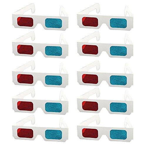 Demarkt 10x Rote und Blaue Papier 3D Brille 3D Glasses 410 * 41mm