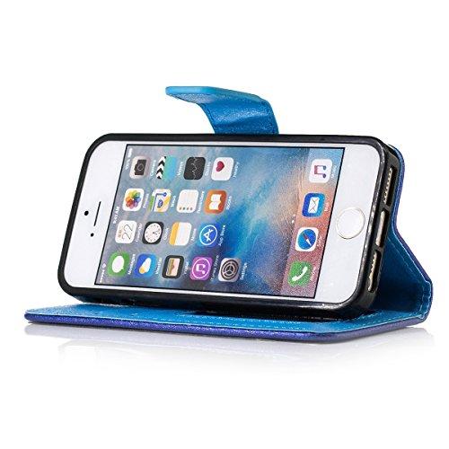 iPhone 6 Plus PU Lederhülle Tasche,iPhone 6s Plus Hülle Case,Ekakashop iPhone 6 Plus / 6S Plus Bookstyle Flip Schale Weichen Silikon Schutzhülle Klapptasche Etui,Retro Golden Glitzer Muster Handy Hüll Marineblau