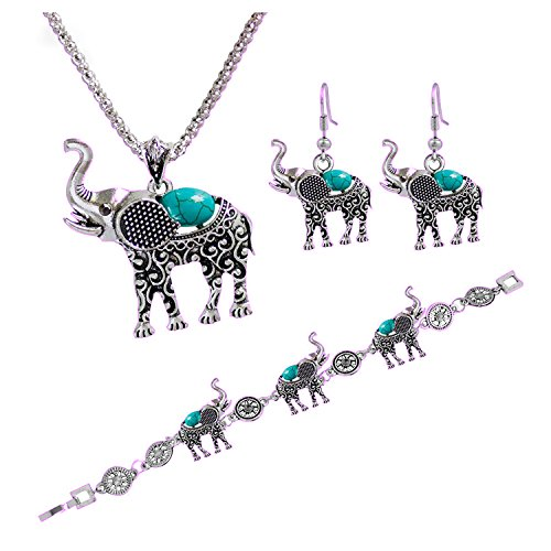 Young & Forever Rakshabandhan S & Friendship Day S Antique Silver Plated Turquoise Lucky Elephant Necklace Bracelet Earring Set For Women