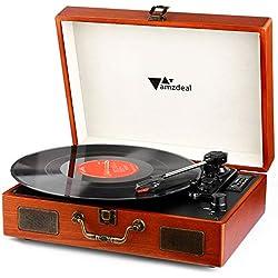 Tourne Disque - Amzdeal Platine Vinyle DJ Rétro Bluetooth Portable à 3 Vitesses 33/45/78 avec 2 Haut-Parleurs Intégrés, Multifonctionnel avec Prise USB/SD/MMC, Sortie RCA, Style Vintage en Bois