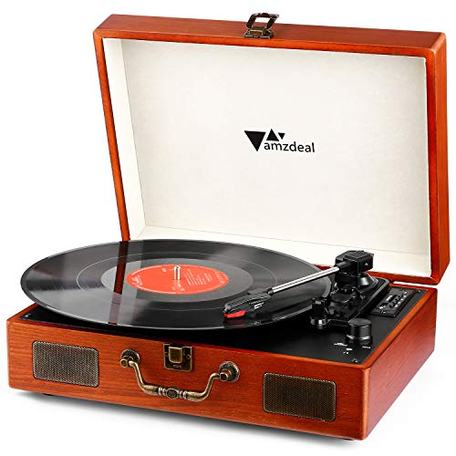 Tourne Disque - Amzdeal Platine Vinyle DJ Rétro Bluetooth Portable à 3 Vitesses 33/45/78 avec 2 Haut-Parleurs Intégrés, Multifonctionnel avec Prise USB/SD/MMC, Sortie RCA, Style Vintage en...