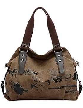 Minetom Damen Fashion Vintage Canvas Umhängetasche Handtasche Messenger Taschen Leinwand Tasche
