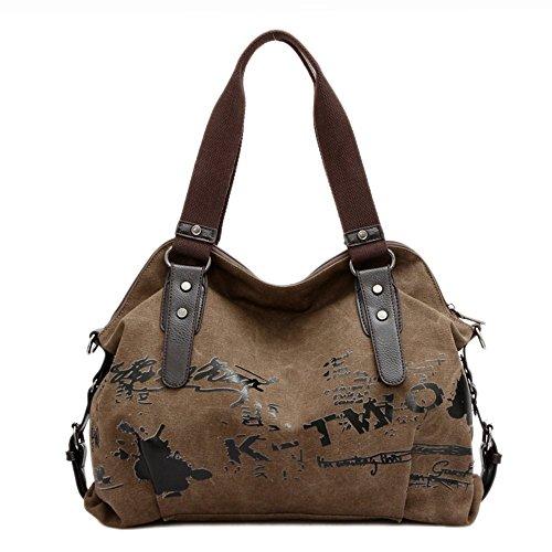VADOOLL® Fashion Damen Mädchen Casual Canvas Umhängetasche Handtasche Schultertasche Tote ideal für Büro Freizeit Einkaufen Outdoor 40 x 15 x 30cm(Kaffee) (Canvas Fashion Handtasche)