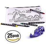 25 TROUSSES à COLORIER | 25 Sacs individuels contenant 5 Crayons de Couleur et un Ballon | Cadeau pour enfants au fêtes et anniversaires