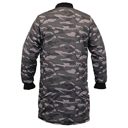 Da Uomo Lungo MA1 Giacca Soul Star Harrington Mac Cappotto Trench Camouglafe Militare Imbottitura, Inverno Nero - MA1LONCAM