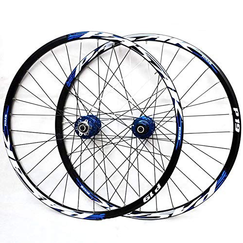 "LHLCG 27.5""Mountain Bike Wheel Palin Bearing Alloy Wheels Quick Release Cone Flower Drum Type Disc Brake Seat Black Rim,bluedrumbluelabel"