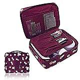 Bolsa de equipaje organizador cubo de viaje embalaje de maquillaje bolsa estuche para artículo de tocador y cosmética (Púrpura)